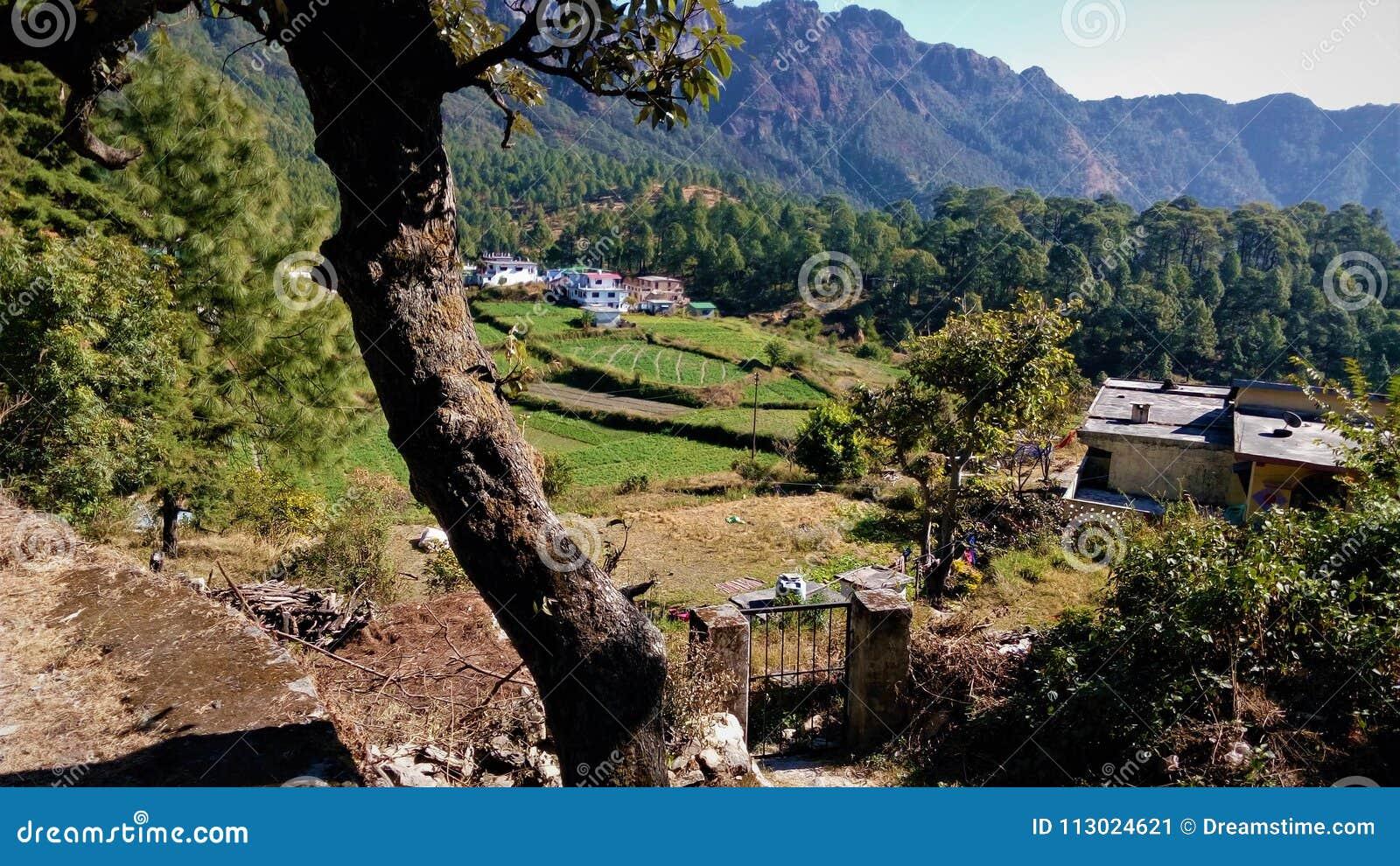 Beautiful Village Scene And Mountain Stock Image Image Of Nature