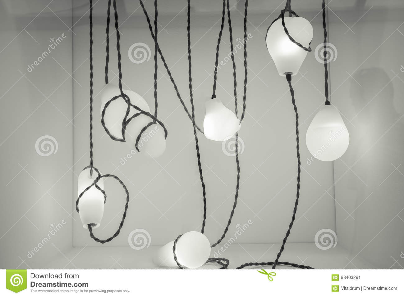 Beautiful Monochrome Abstract View Of Warm Glowing Electrical Lamps ...