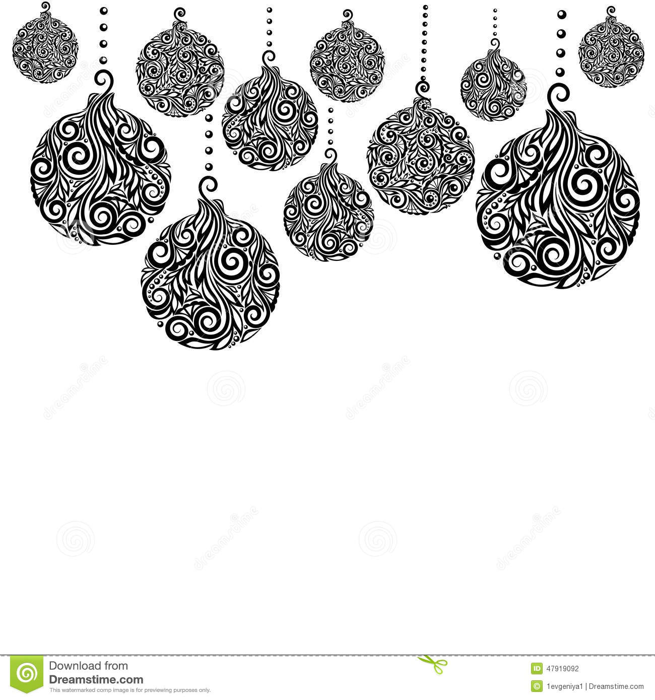 Beautiful monochrome black and white christmas background with beautiful monochrome black and white christmas background with christmas balls hanging m4hsunfo