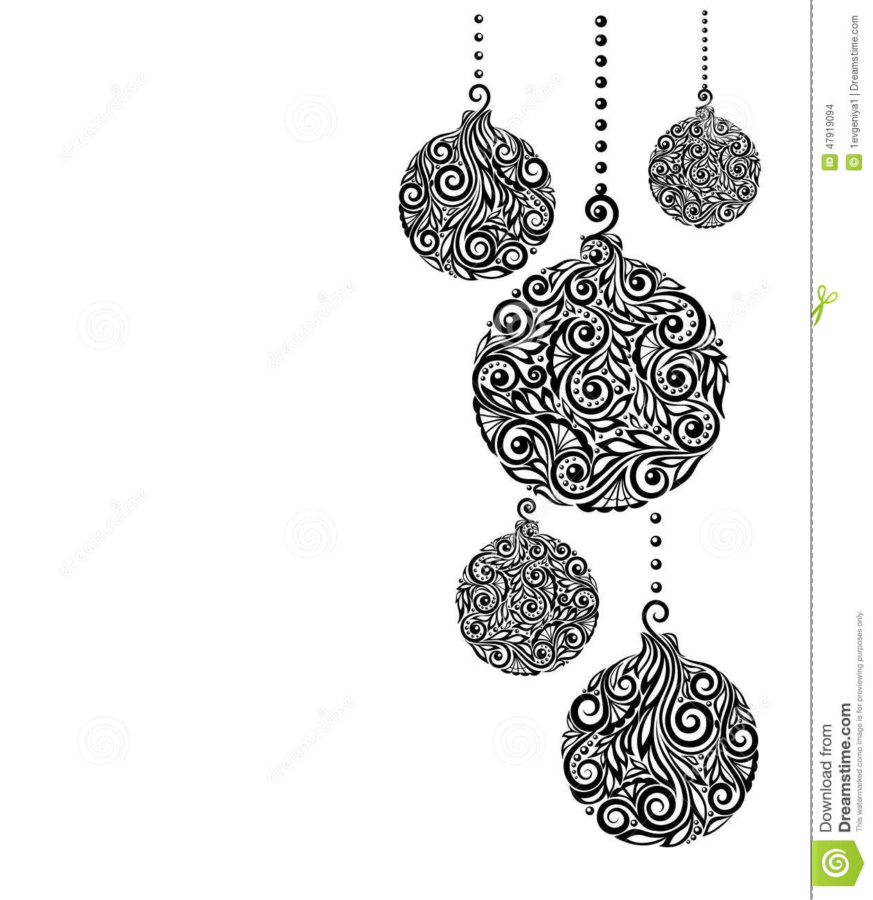 Stock Illustration Beautiful Monochrome Black White Christmas Background Christmas Balls Hanging Great Greeting Cards Image47919094 on new year card templates designs
