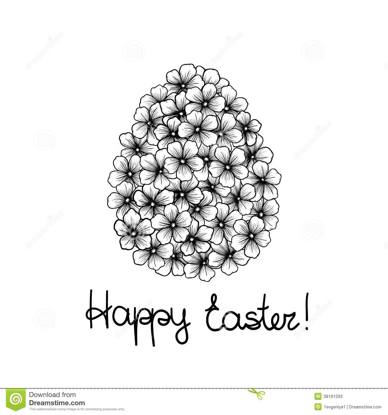 Beautiful Monochrome Black And White Easter Greeting Card With