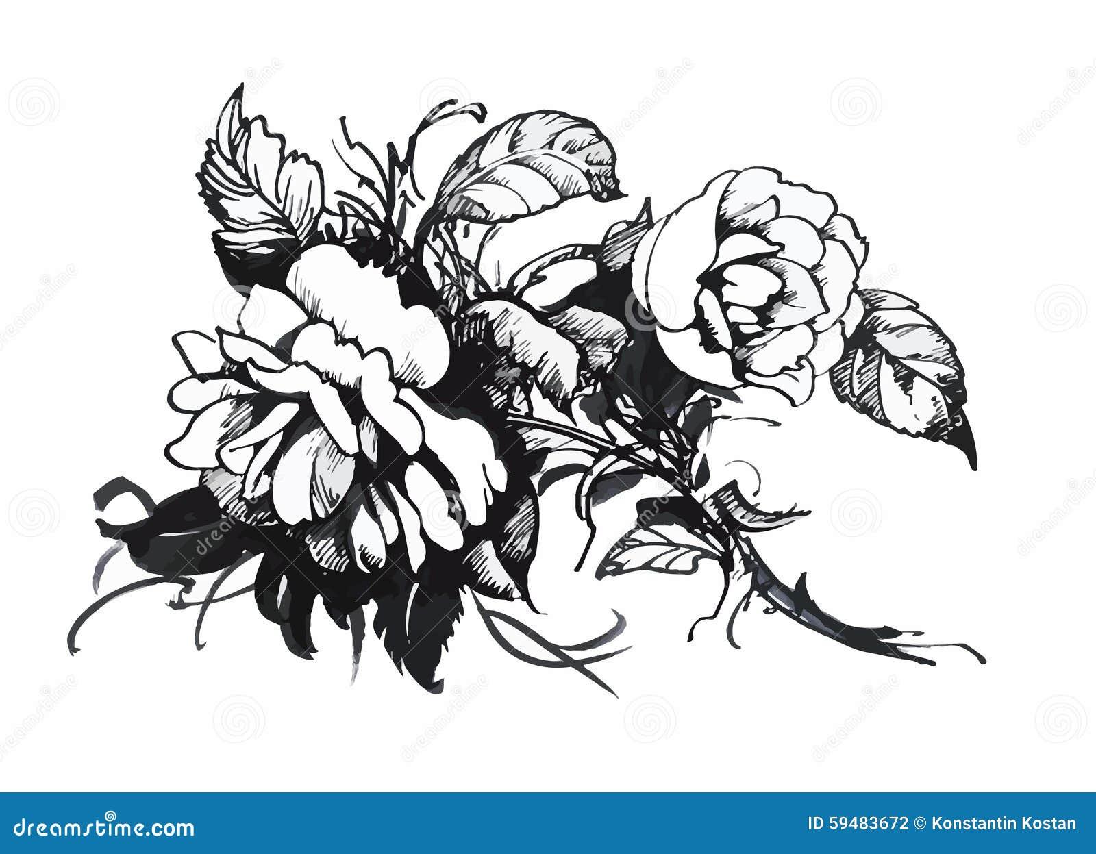 Beautiful monochrome black and white flower isolated hand drawn beautiful monochrome black and white flower isolated hand drawn contour lines strokes mightylinksfo
