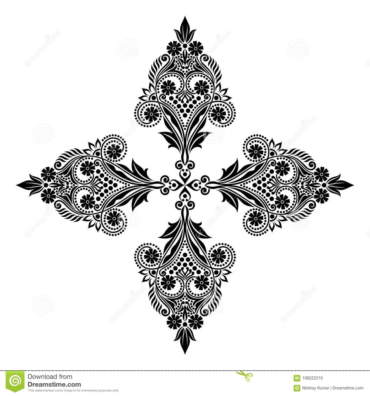 Vector vintage Beautiful monochrome black and white flowers and leaves isolated