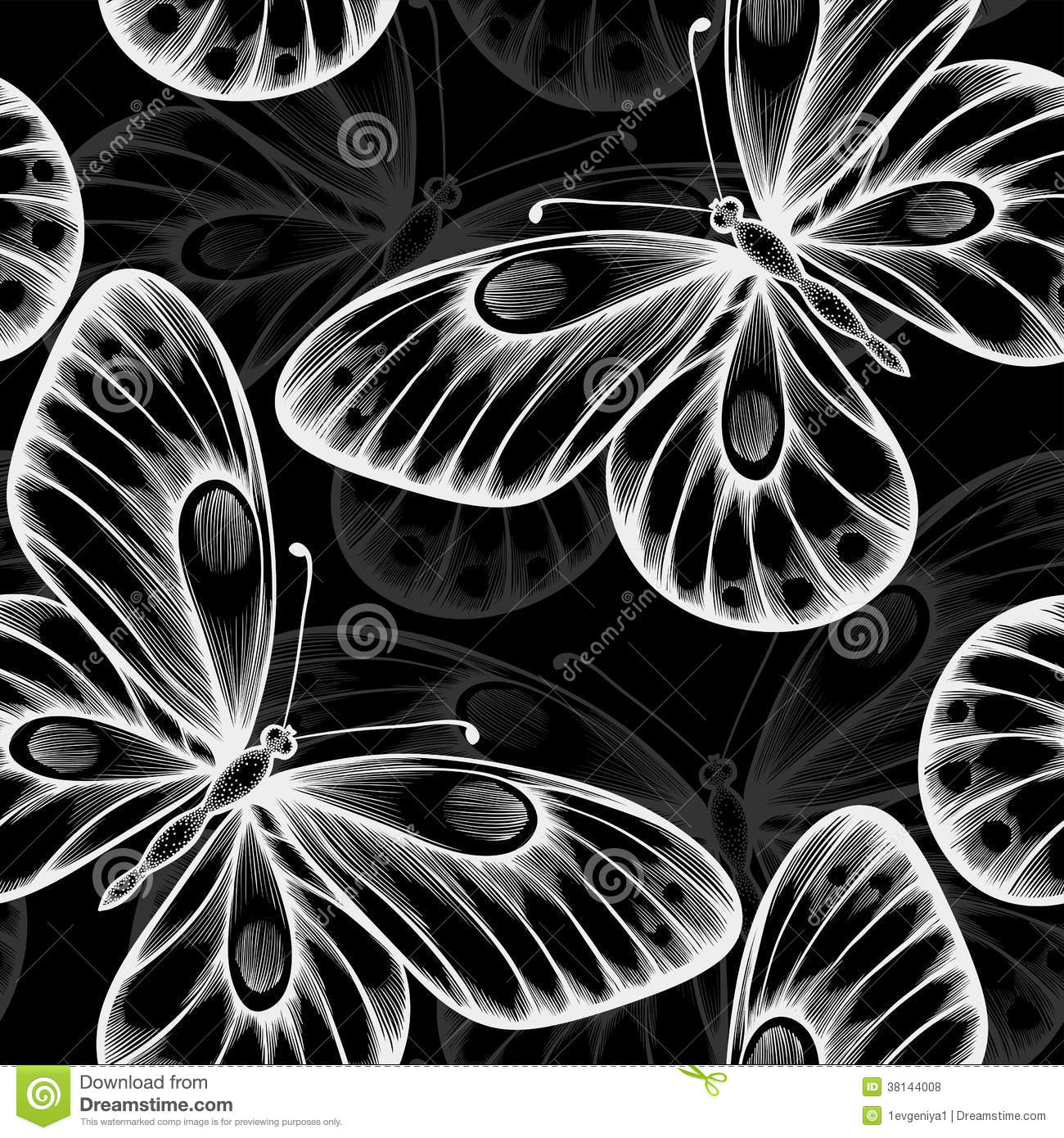 Beautiful Monochrome Black And White Seamless Background With Flying Butterflies Royalty Free