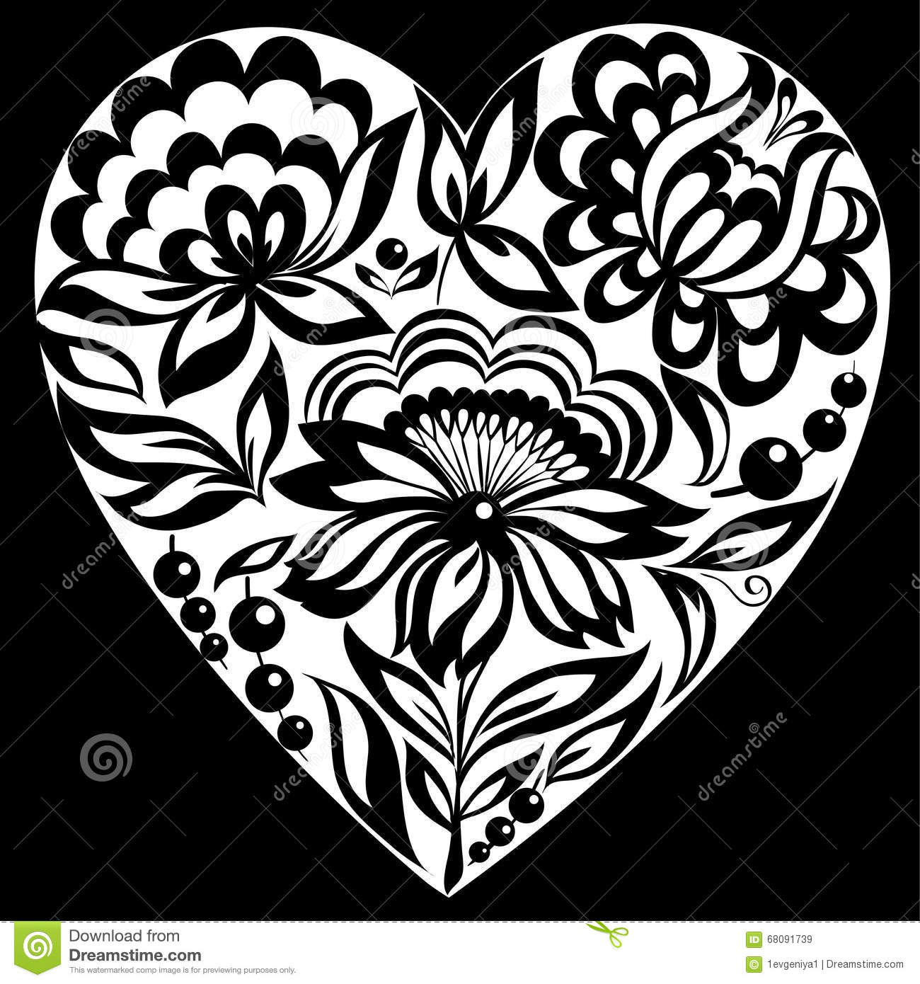 Black Flower Heart Shape Illustration Tattoo On White: Beautiful Monochrome Black And White Silhouette Of The
