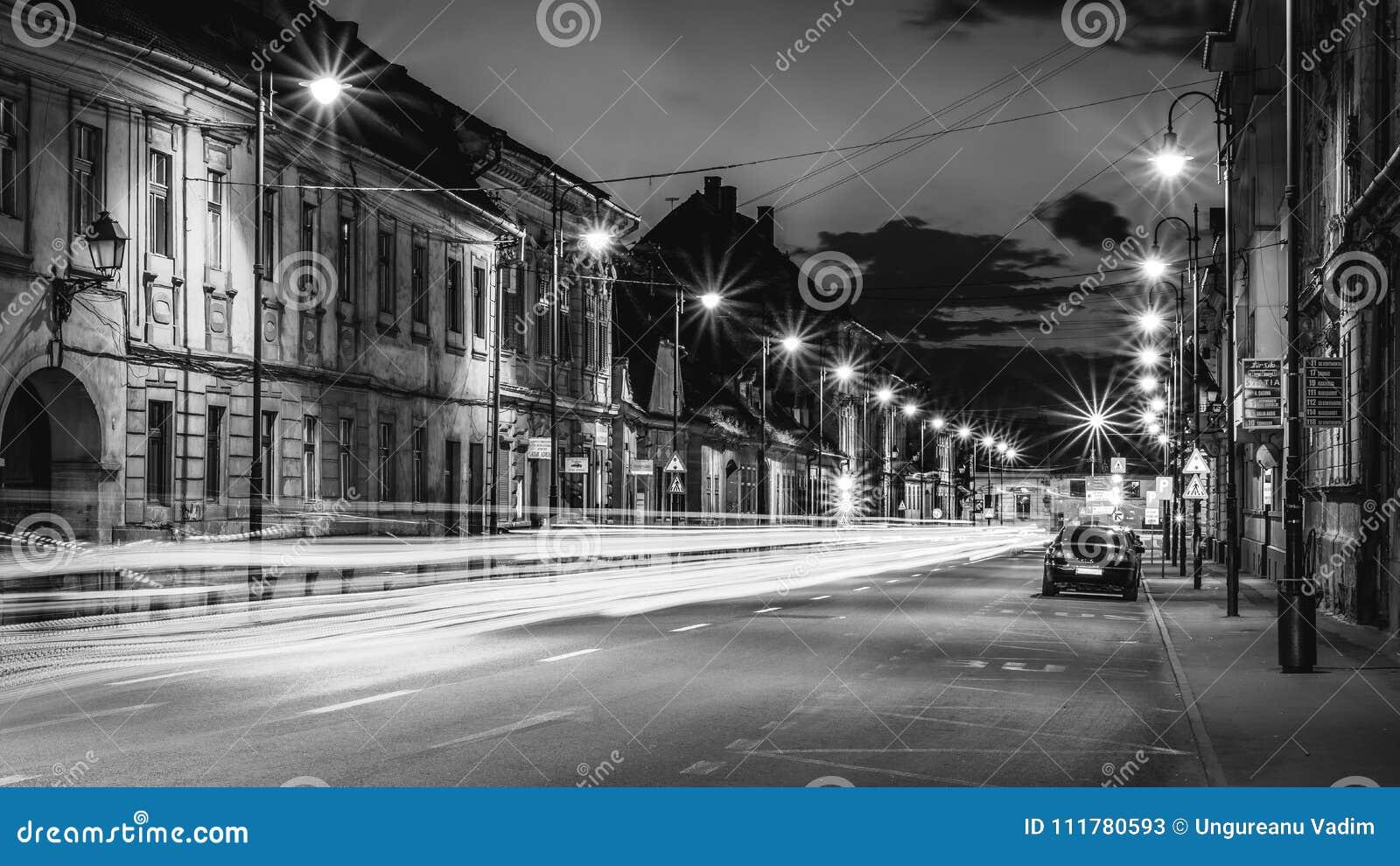 Beautiful monochrome night street in Sibiu, Romania