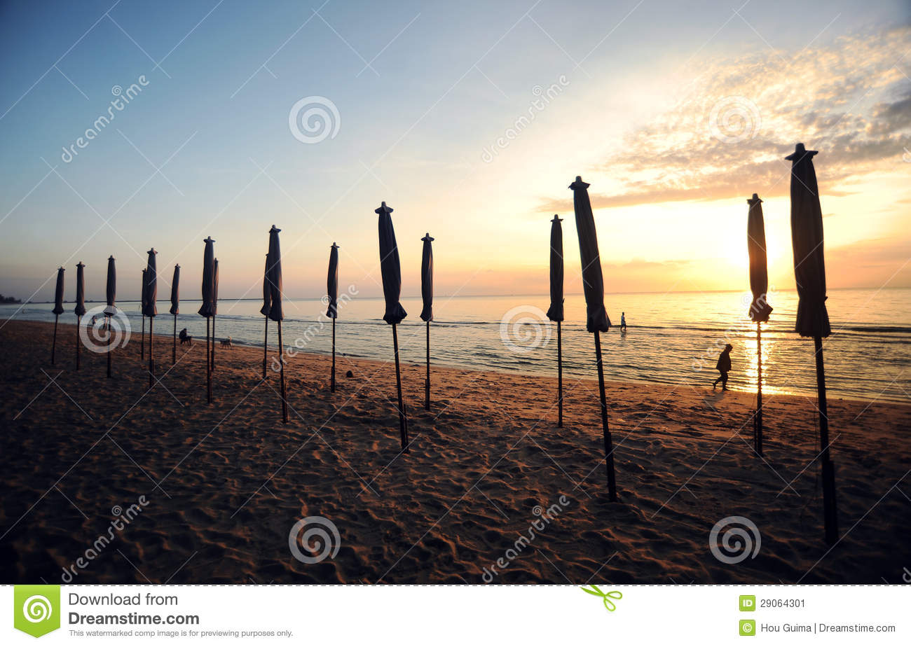 Beautiful Morning Sunrise With Beach Parasol Stock Image  Image