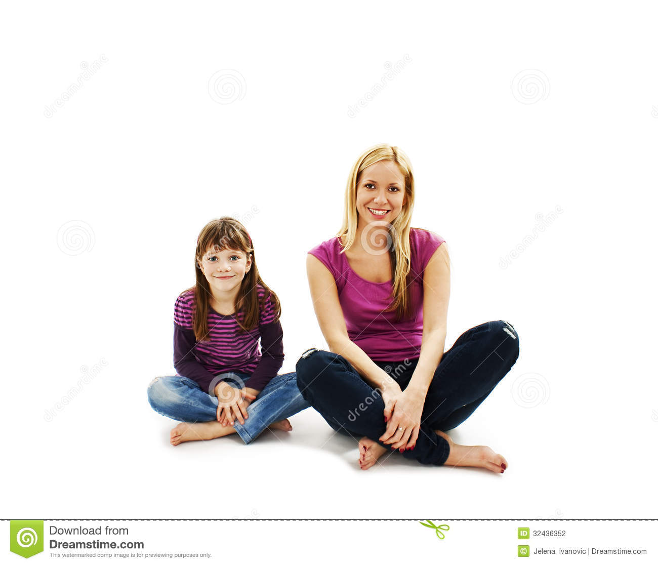 Beautiful mother and daughter sitting on the floor stock for On the floor on the floor