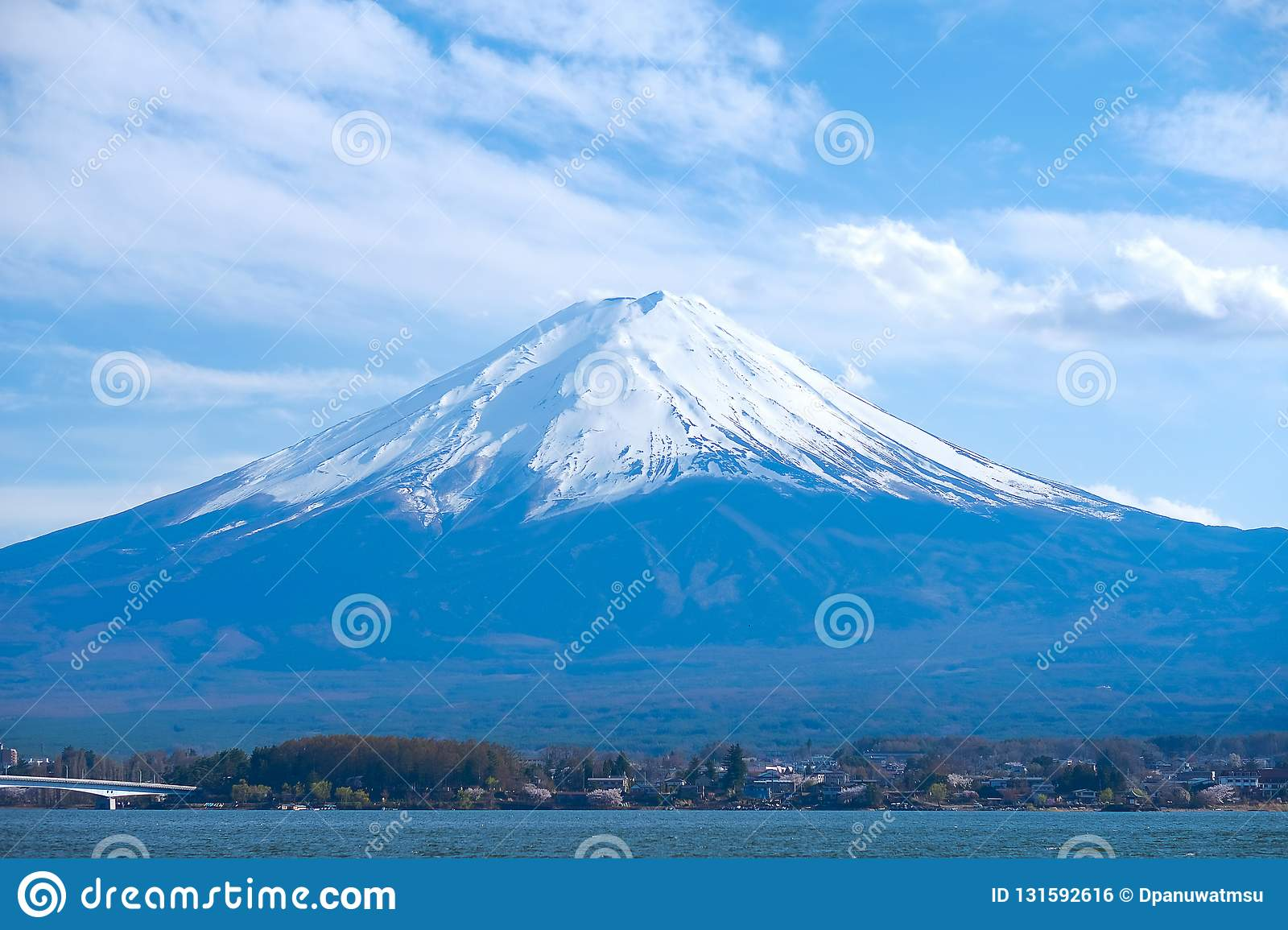 Beautiful Mount Fuji with snow capped and sky at Lake kawaguchiko, Japan. landmark and popular for tourist attractions