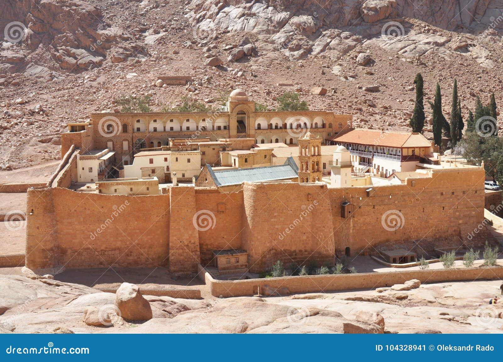 Beautiful Mountain cloister landscape in the oasis desert valley. Saint Catherine`s Monastery in Sinai Peninsula, Egypt