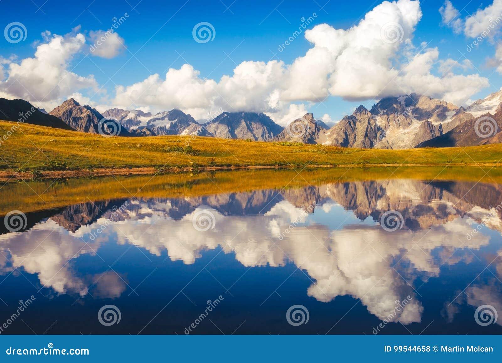 Beautiful mountain landscape view of Koruldi lakes in Svaneti national park