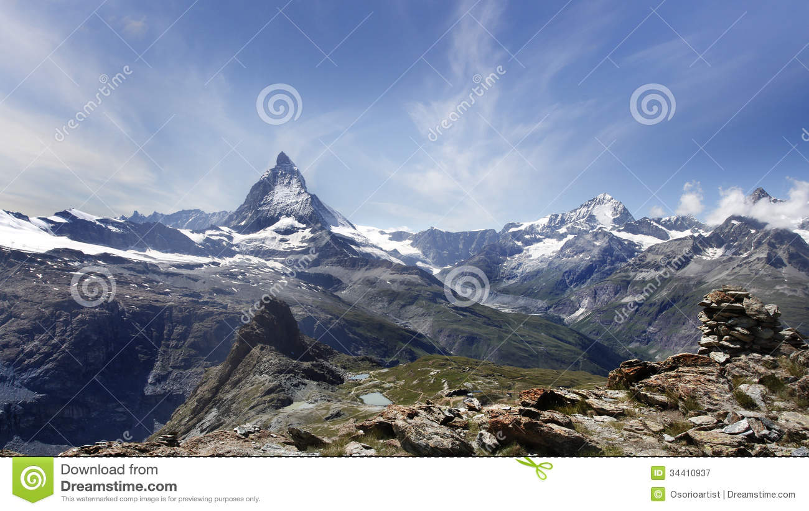 Beautiful Mountain Matterhorn Swiss Alps Royalty Free