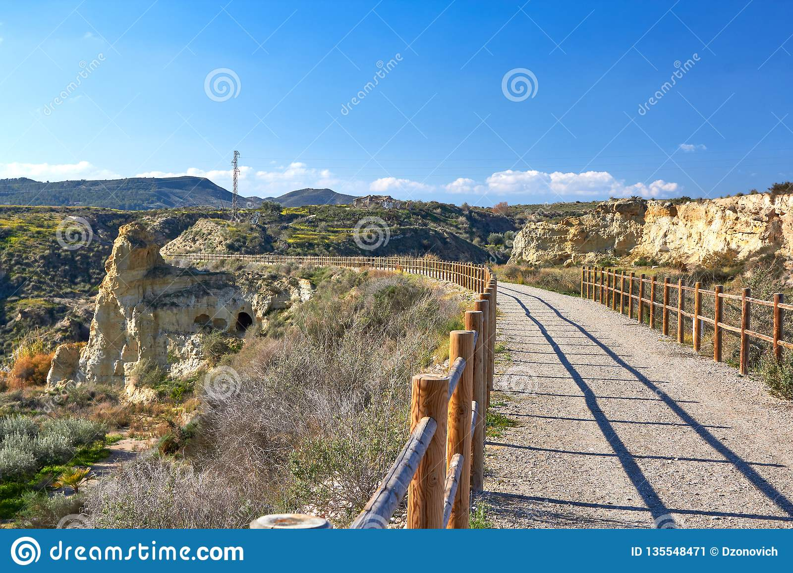 Beautiful mountain path for jogging, great design for any purposes