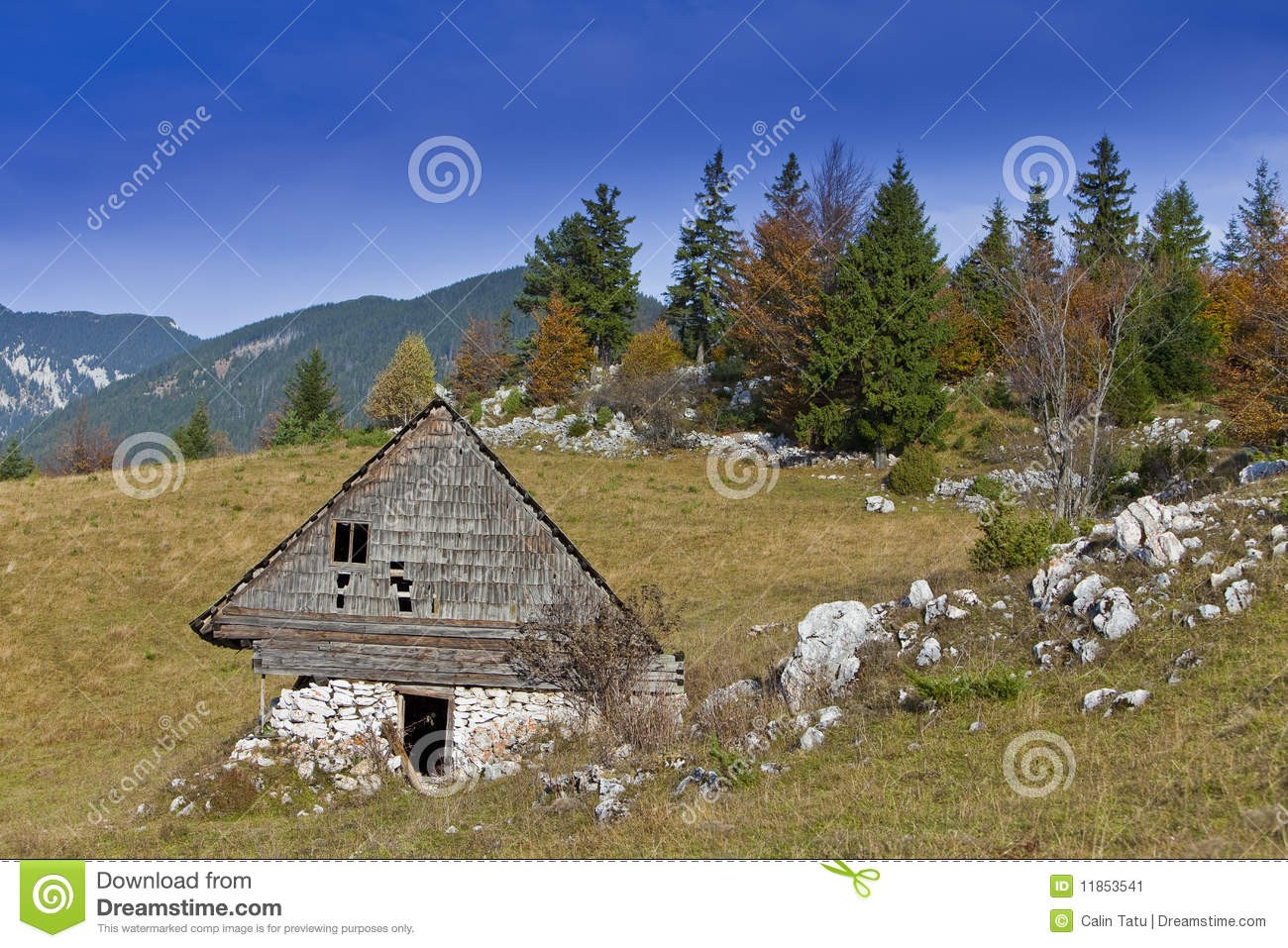 Beautiful mountain scenery and cottage stock image image for Cottage in the mountains