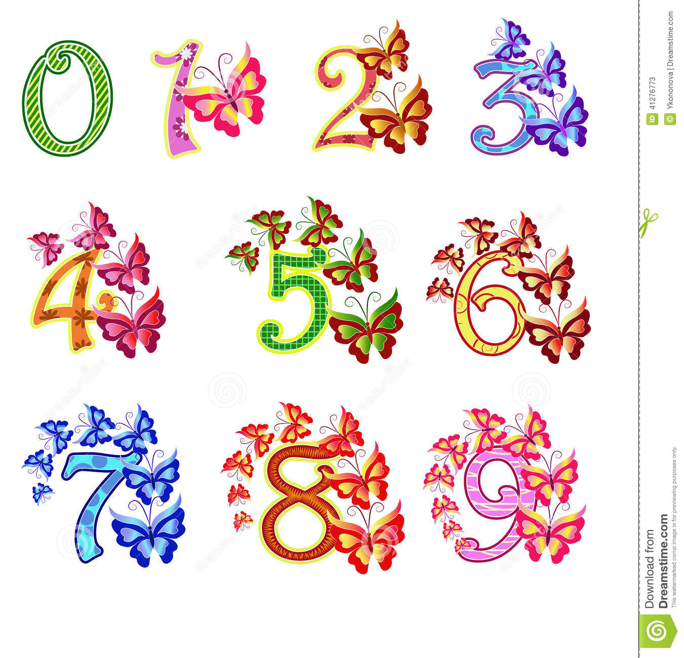 Beautiful Multi-coloured Numbers With Butterflies Stock Vector - Image: 41276773
