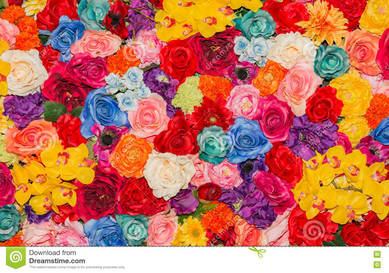 Beautiful Multicolored Artificial Flowers Background. Stock Image ...