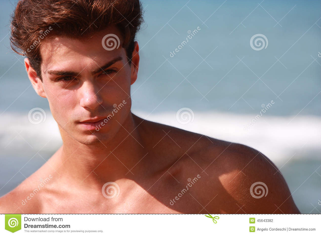 Beautiful And Muscular Young Man Shirtless Portrait Stock Photo - Image 45643382-7964