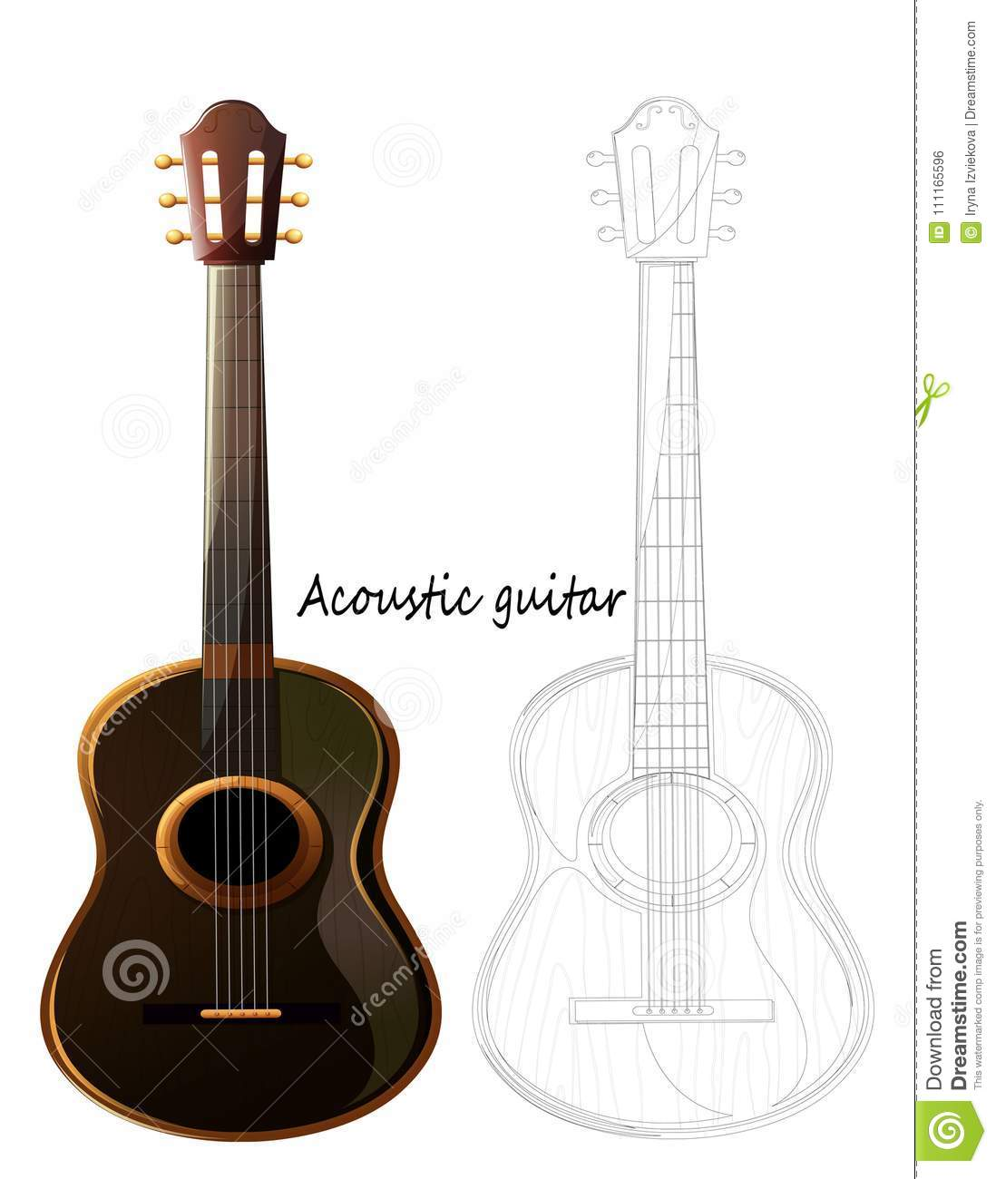 A beautiful musical instrument a wooden acoustic guitar close up sketch pencil sketch vector guitar