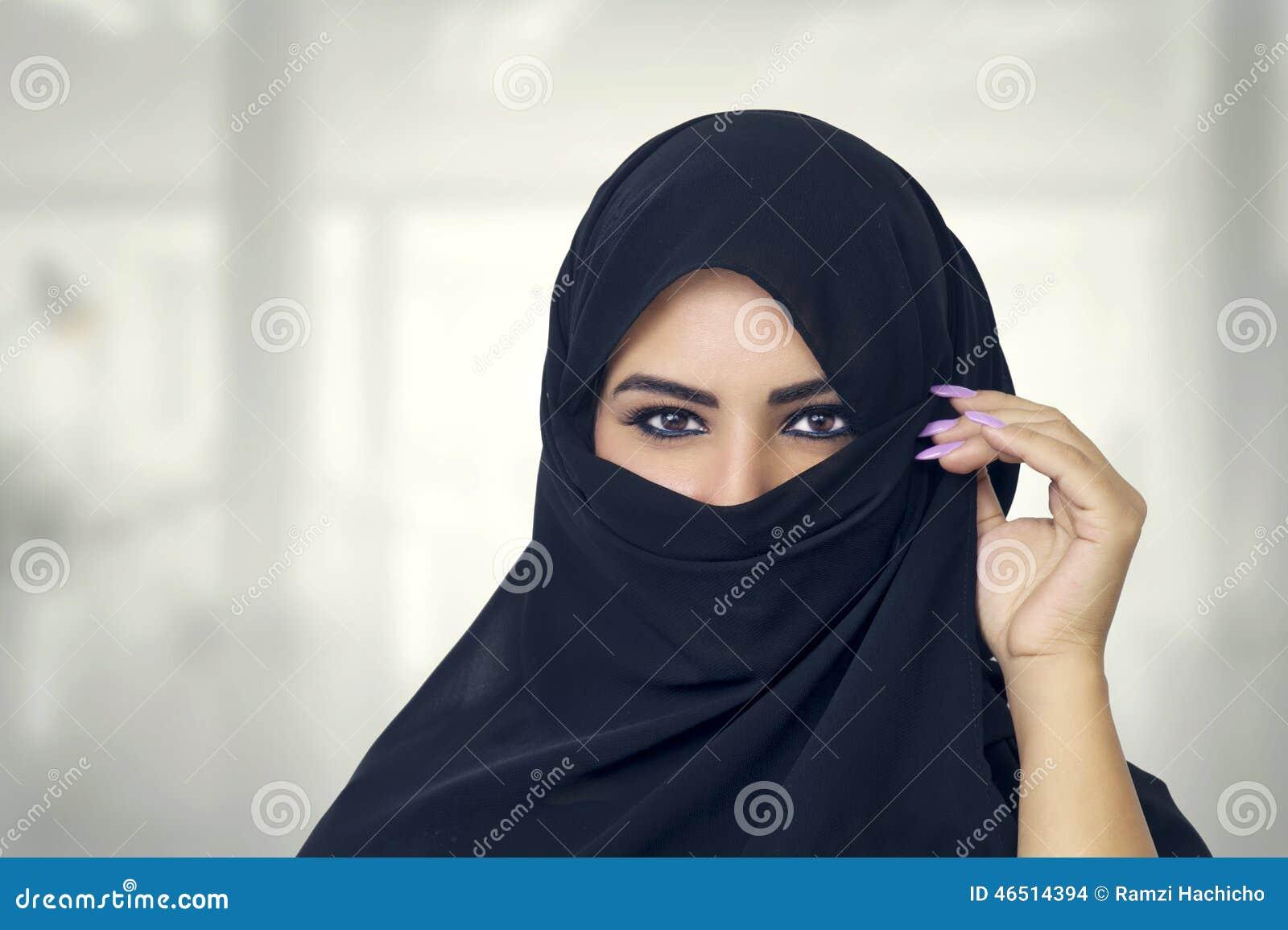 Beautiful Muslim Girl Wearing Burqa Closeup Stock Photo