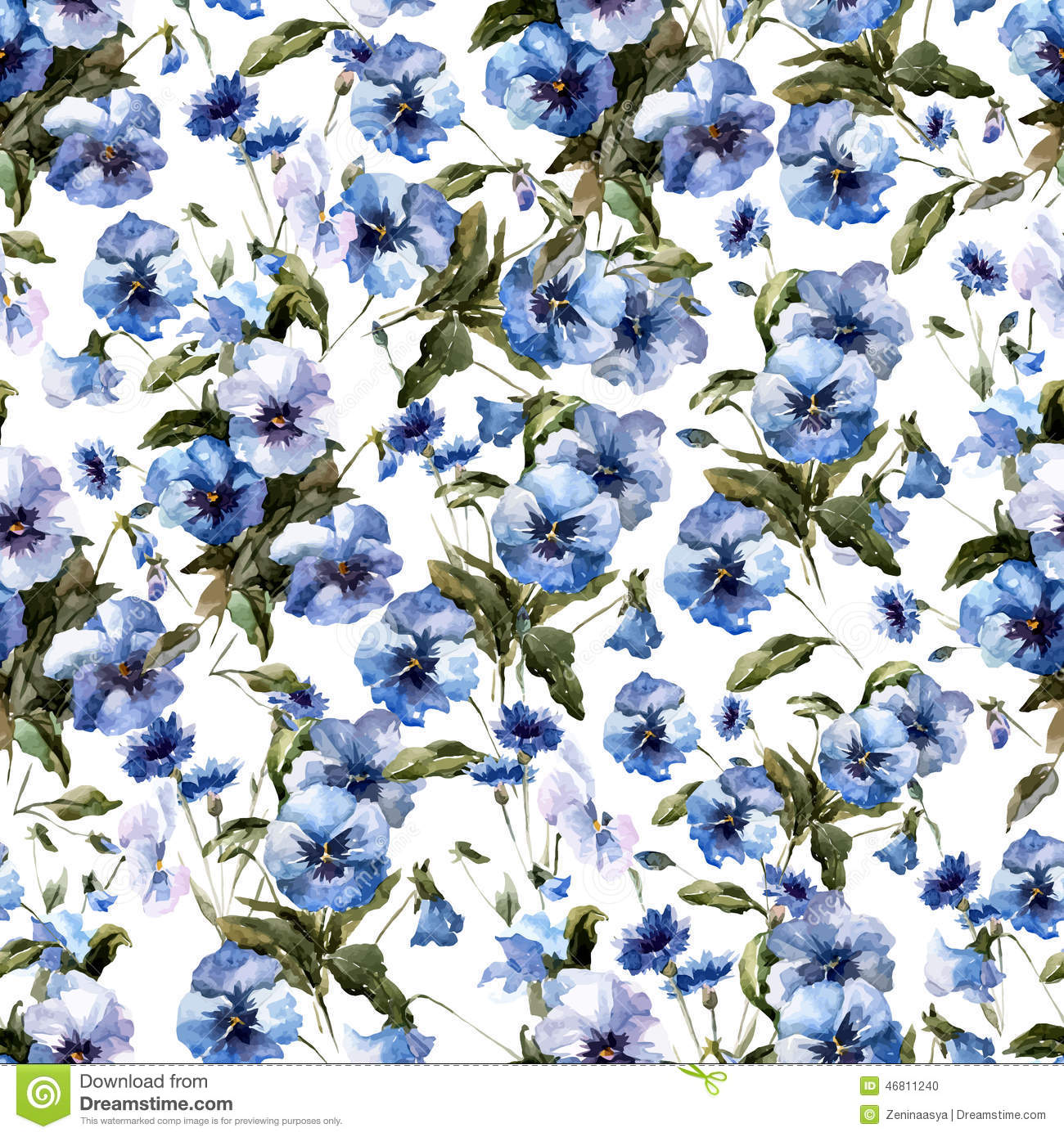 Beautiful N Pattern With Blue Flowers On White Fon1 Stock