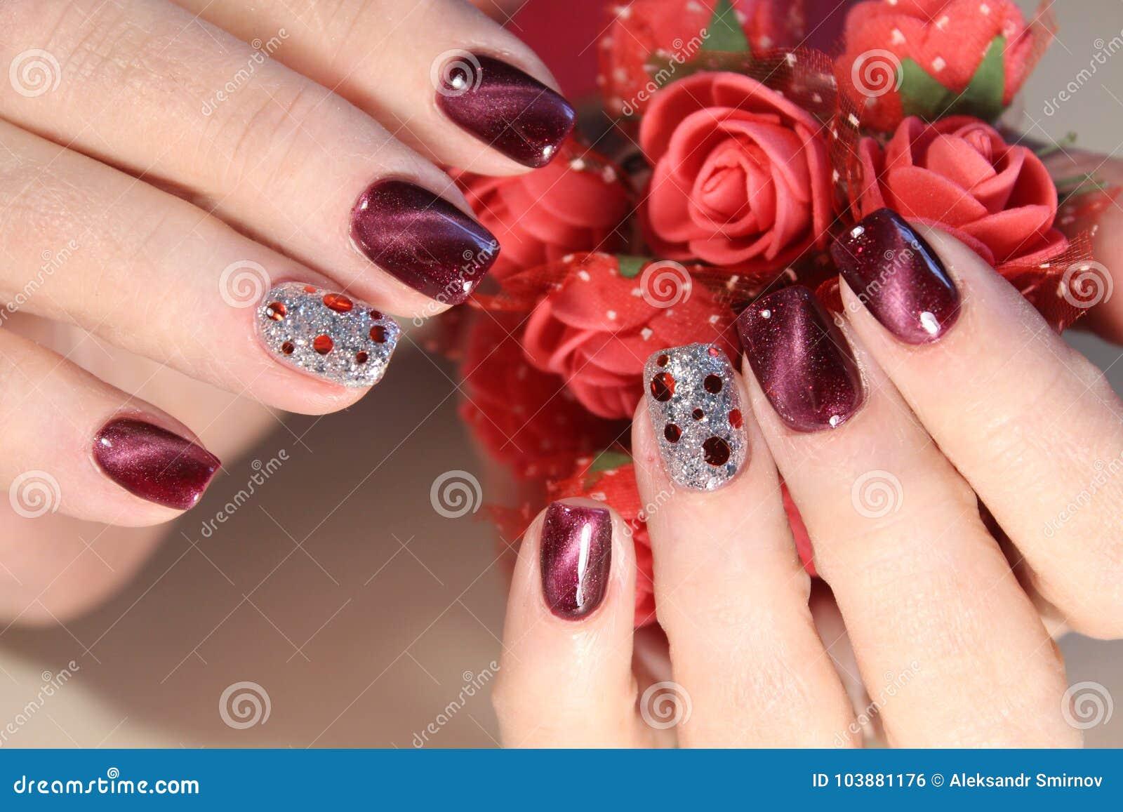 Beautiful Nail Art Manicure Stock Photo Image Of Black Nail
