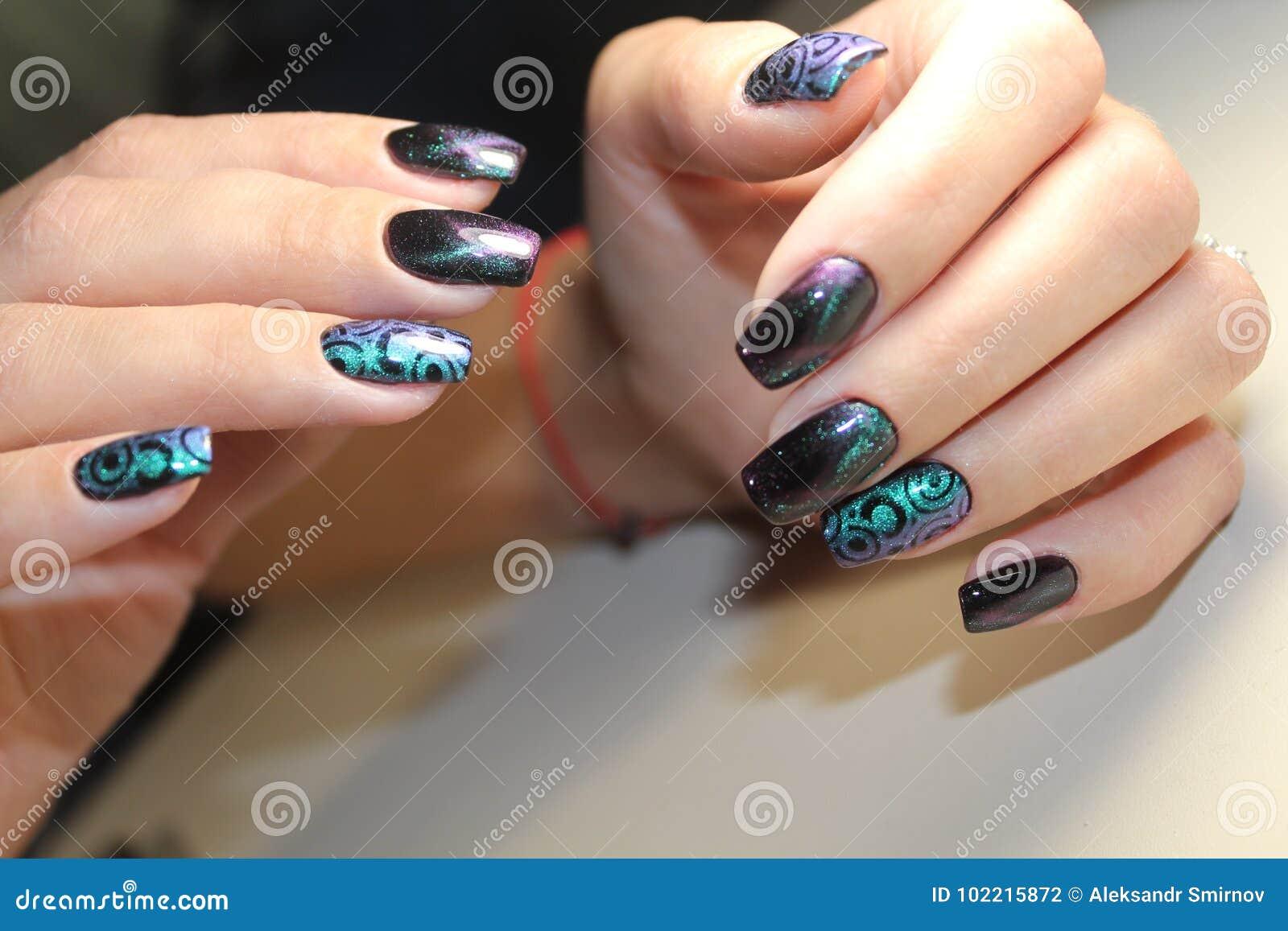 Beautiful Nail Art Manicure Stock Photo Image Of Black Style