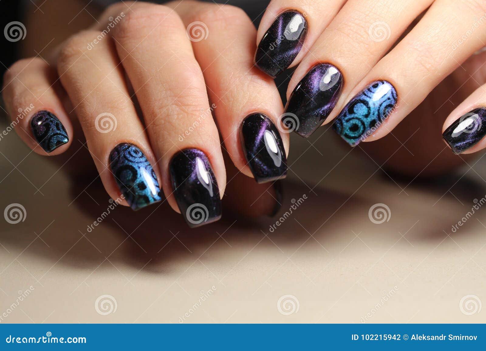 Beautiful Nail Art Manicure Stock Photo Image Of Colorful Closeup