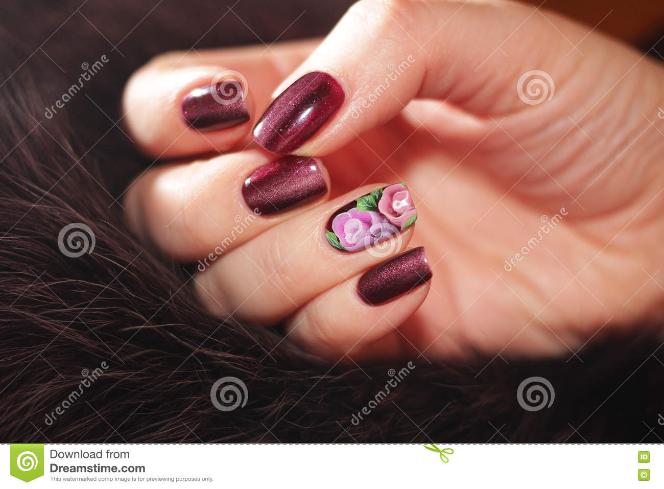 Beautiful nail designs. stock image. Image of flowers - 81607987