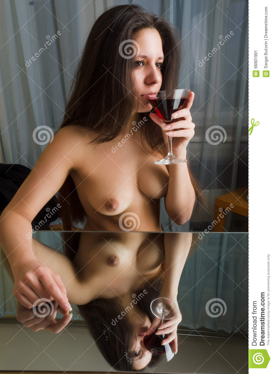 Topless girl abs wine glass have