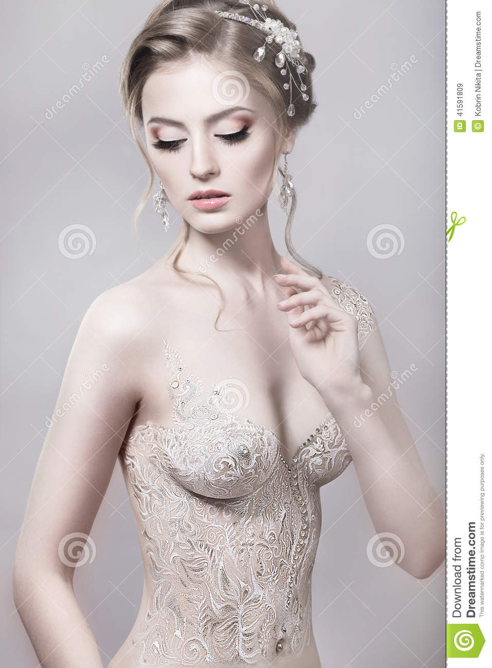 Beautiful Naked Girl In The Image Of A Bride With Stock -4342