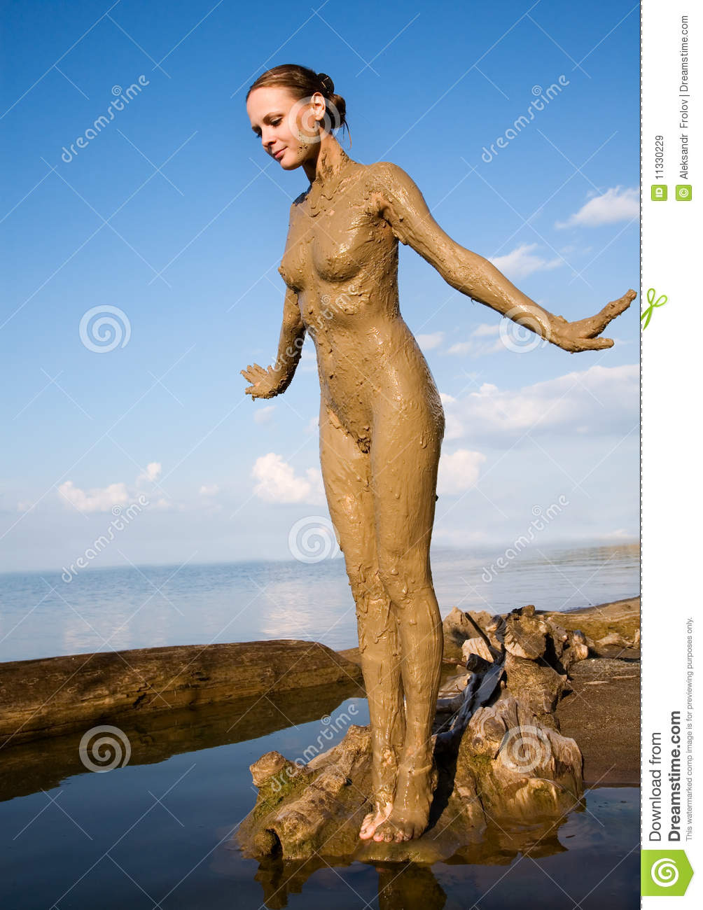 Beautiful Naked Girl In The Mud Royalty Free Stock Images -5085