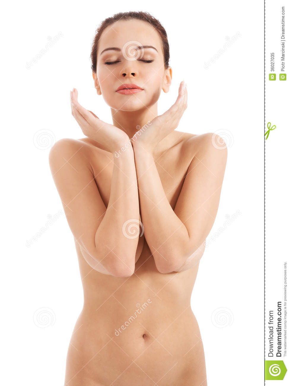 girl naked hands by her face