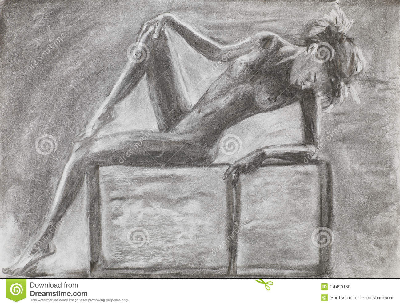 Beautiful naked woman laying pencil drawing