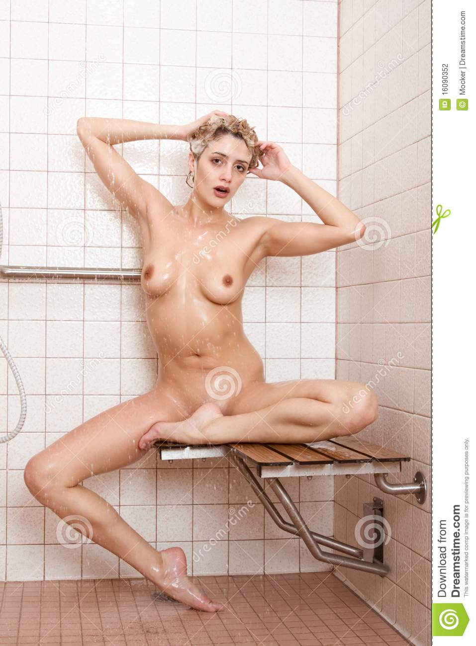 Beautiful Naked Young Woman Takes Shower Stock Photography -9973