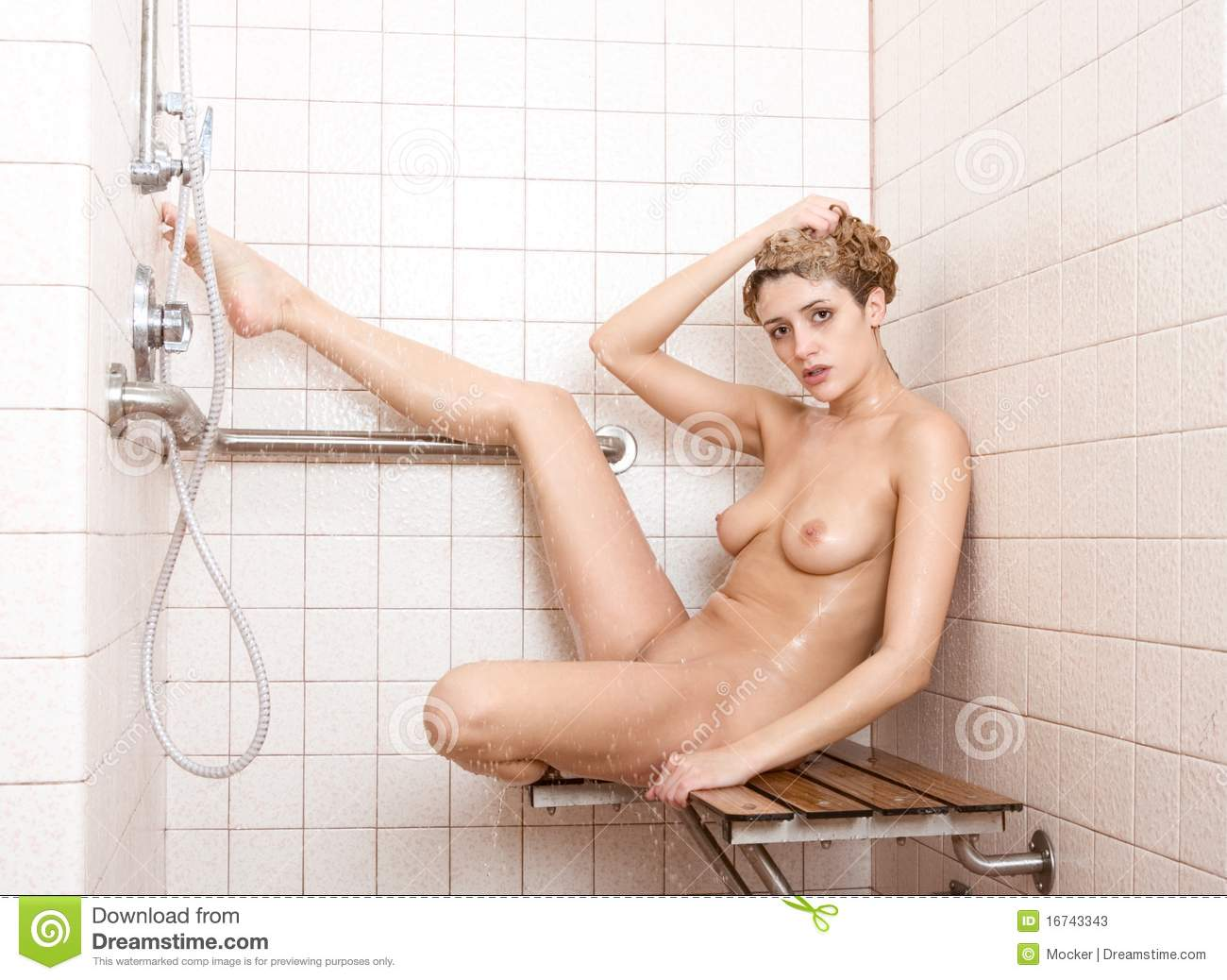Naked woman in the shower