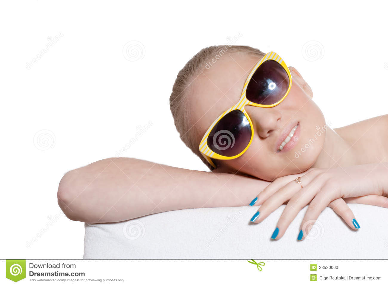 Beautiful natural blond young girl with sunglasses