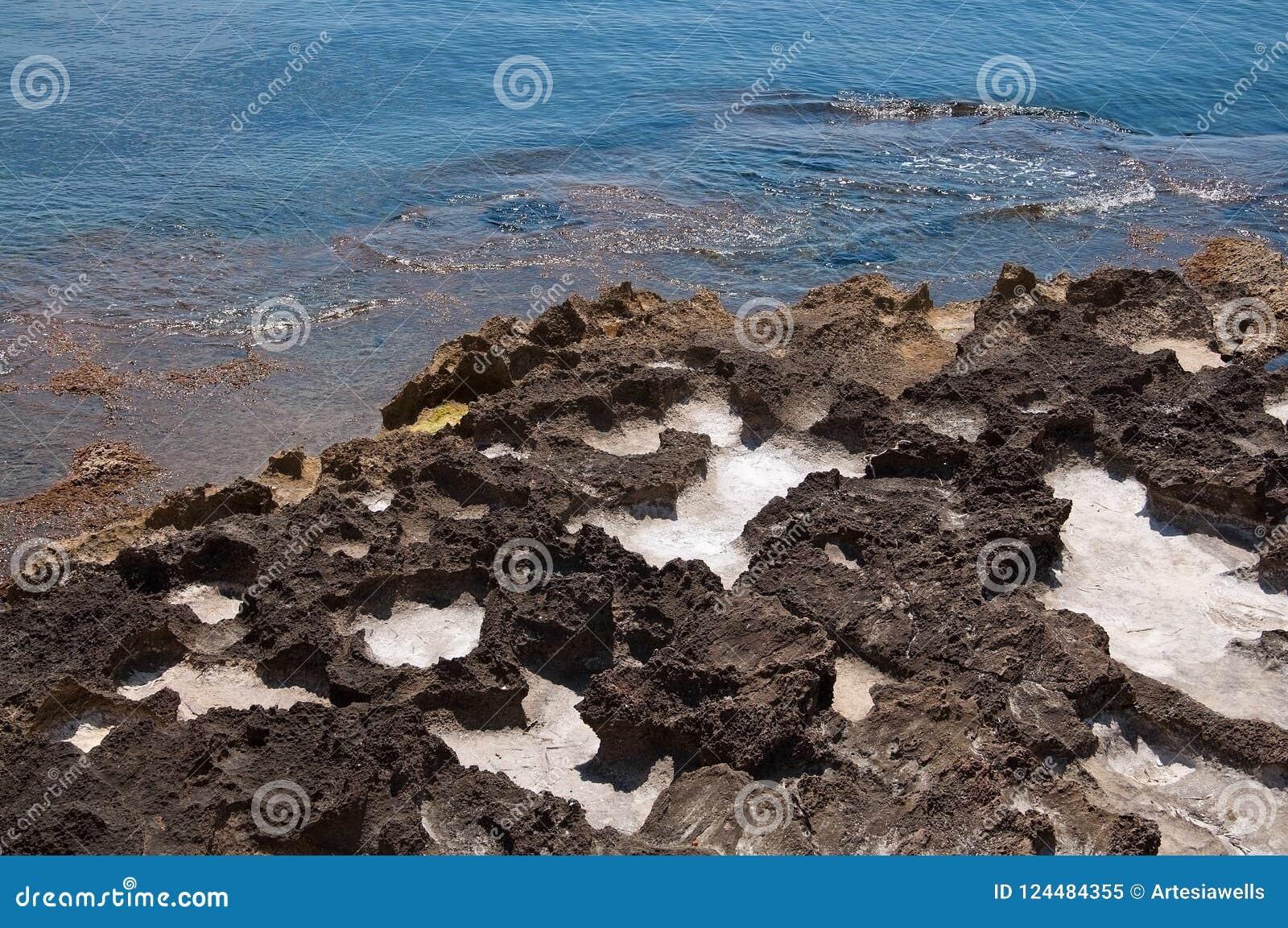 Beautiful natural coast landscape with salt cavities