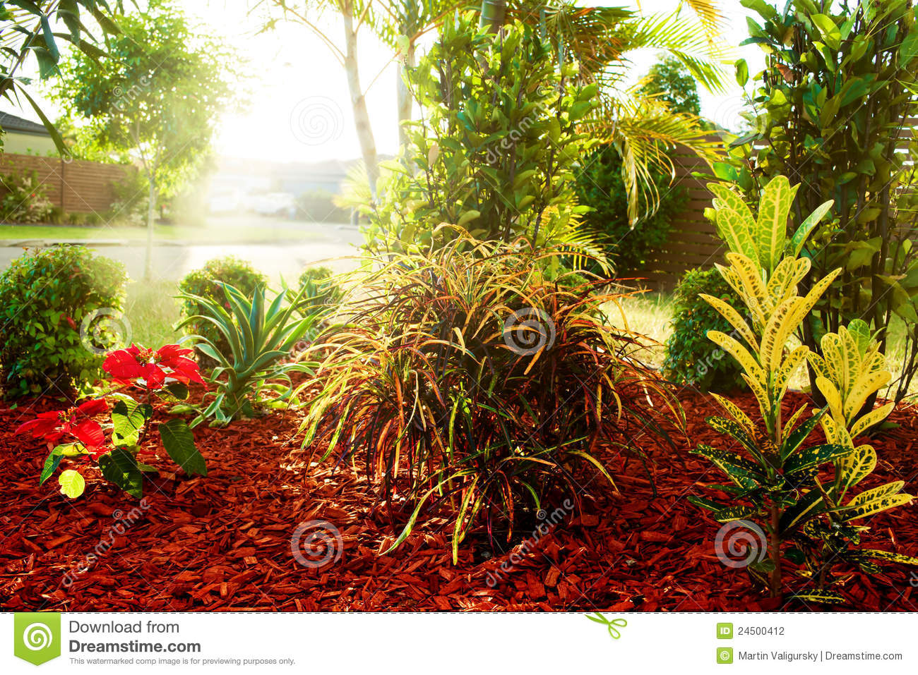 Beautiful natural gardens - Beautiful Natural Garden With Colorful Plants Stock Photography