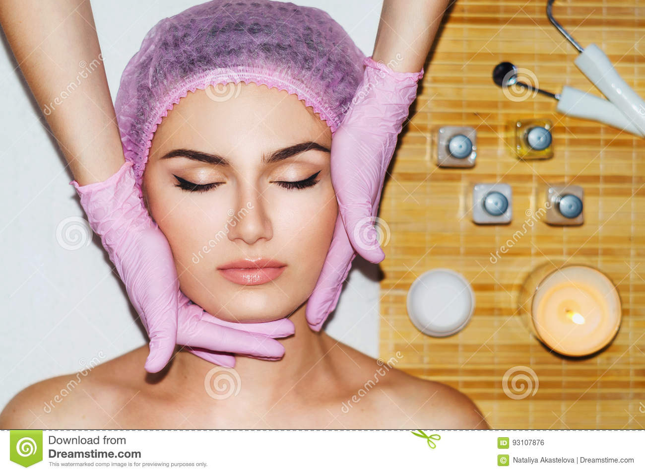 Beautiful natural girl woman in the spa salon, second chin, double chin