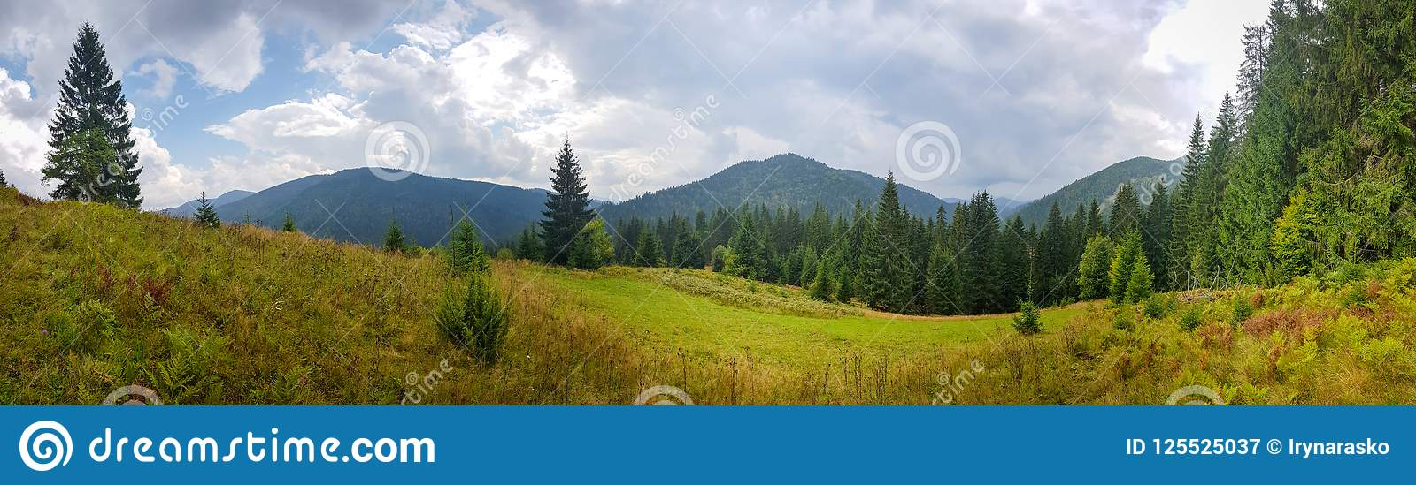 Download Beautiful Natural Landscape In Green Mountains And Fields Stock Image - Image of panorama, natural: 125525037