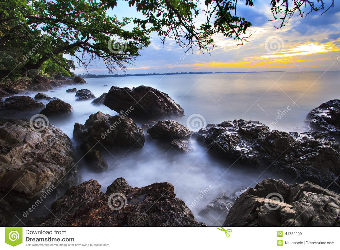 Beautiful Natural Sea Scape With Long Explosure Technic