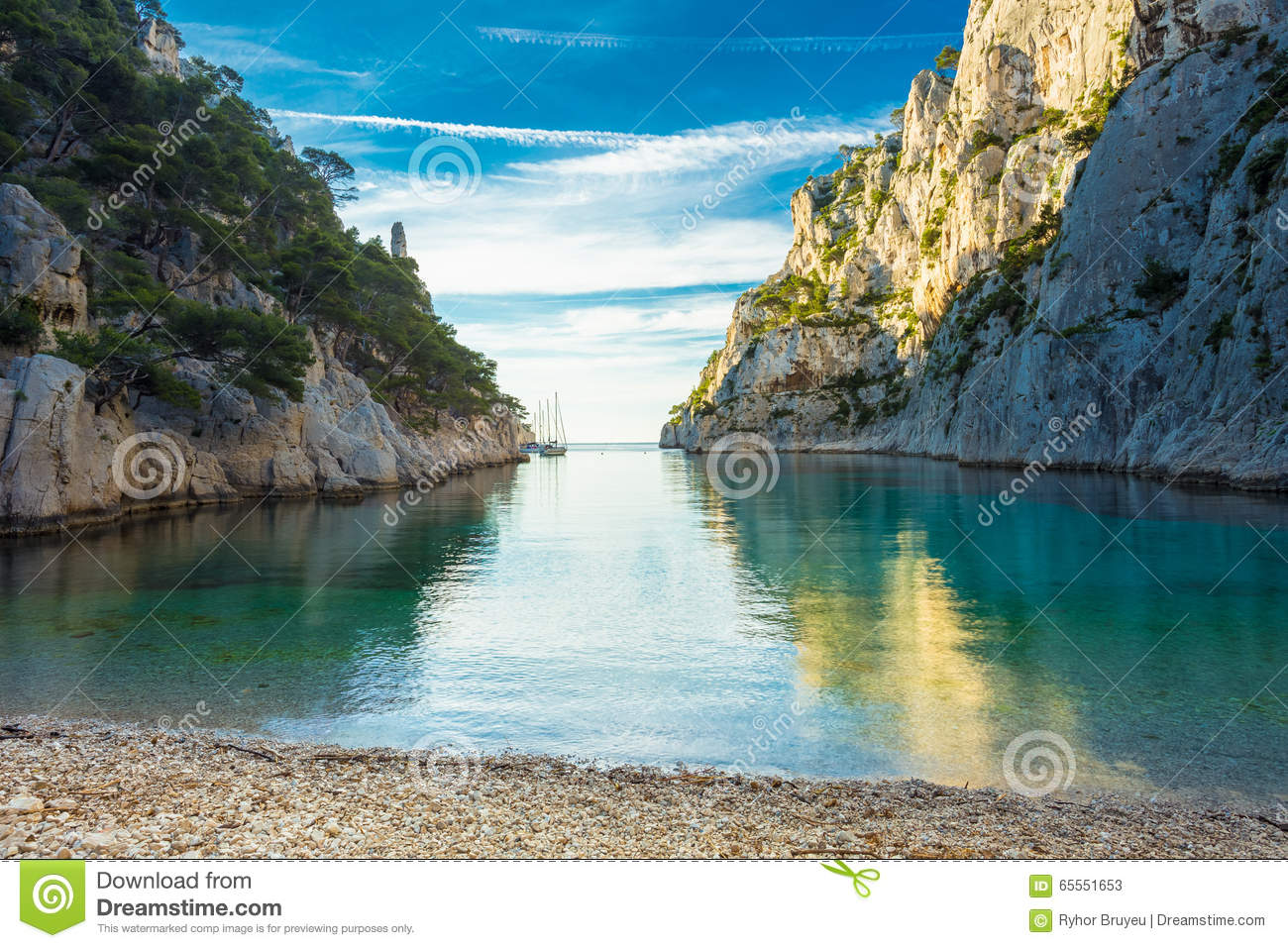 beautiful nature of calanques on the azure coast of france stock image image 65551653. Black Bedroom Furniture Sets. Home Design Ideas