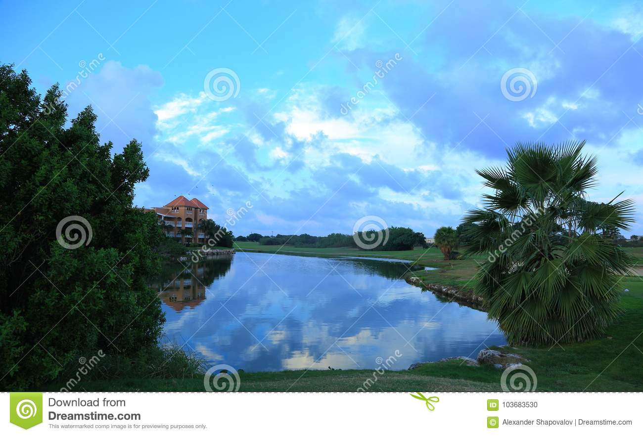 Beautiful nature landscape with view on green trees, palm trees and a lake on amazing blue sky background. Aruba island,
