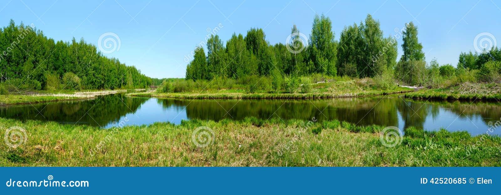 Beautiful nature, panoramic scenery. Small Rivers of Russia