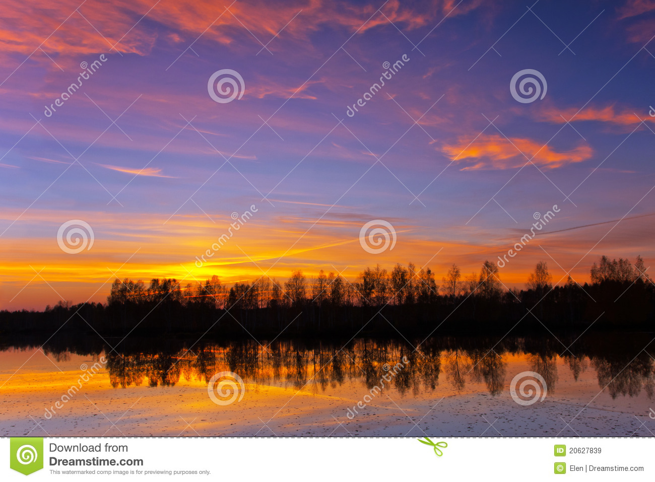 Beautiful nature, sunset on the river