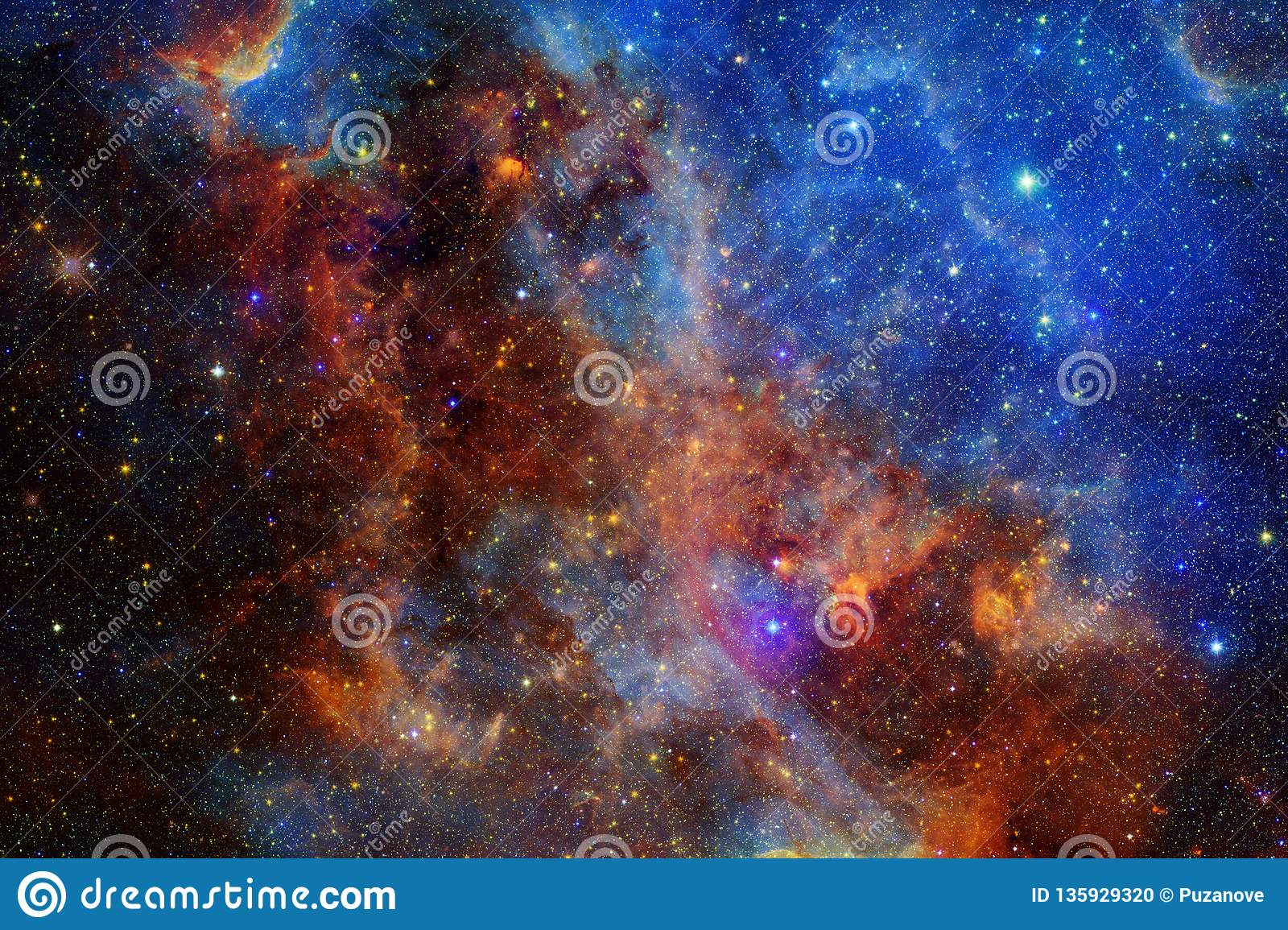 Beautiful nebula and bright stars in outer space, glowing mysterious universe