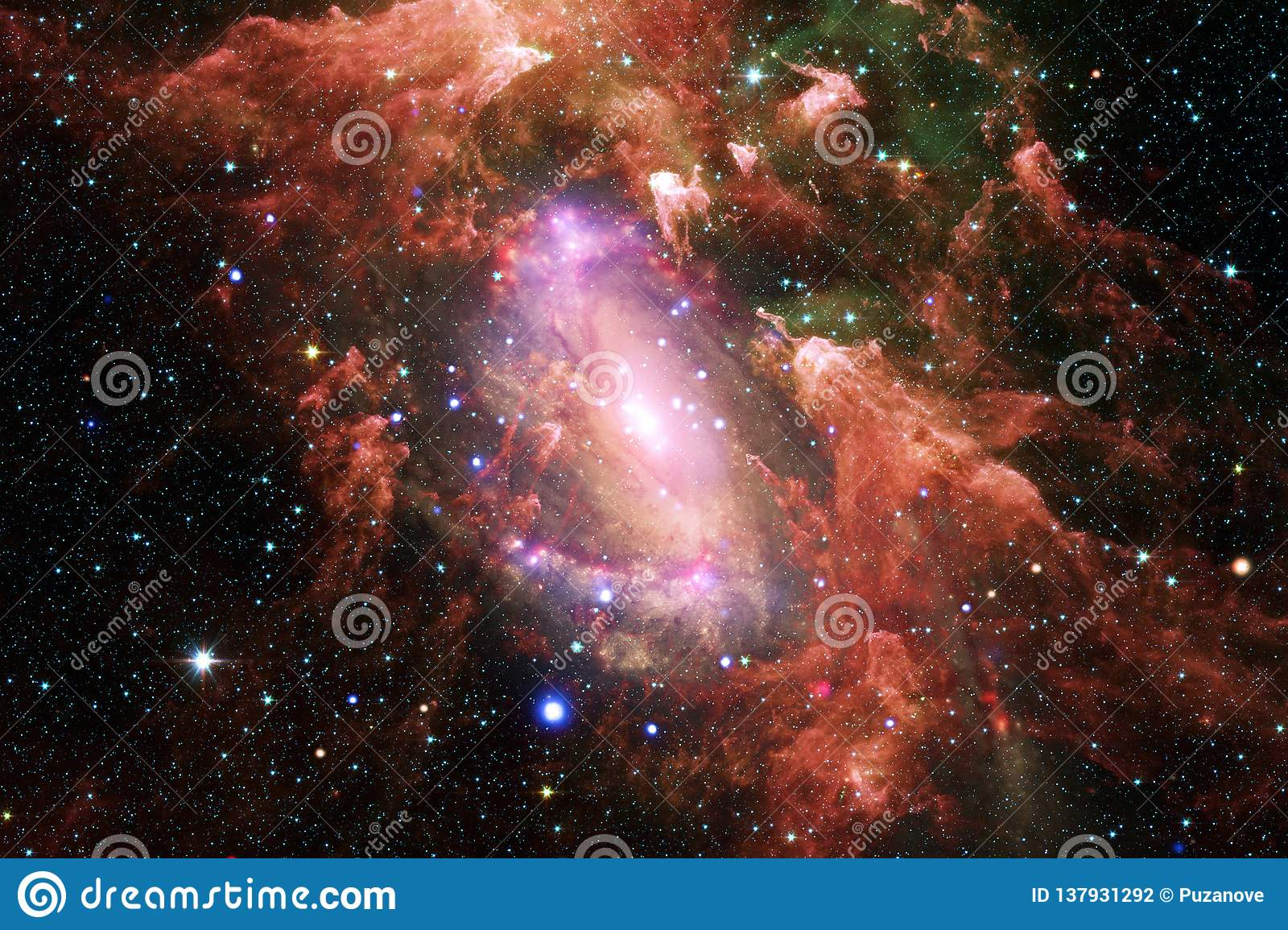 Beautiful nebula, starfield, cluster of stars in outer space