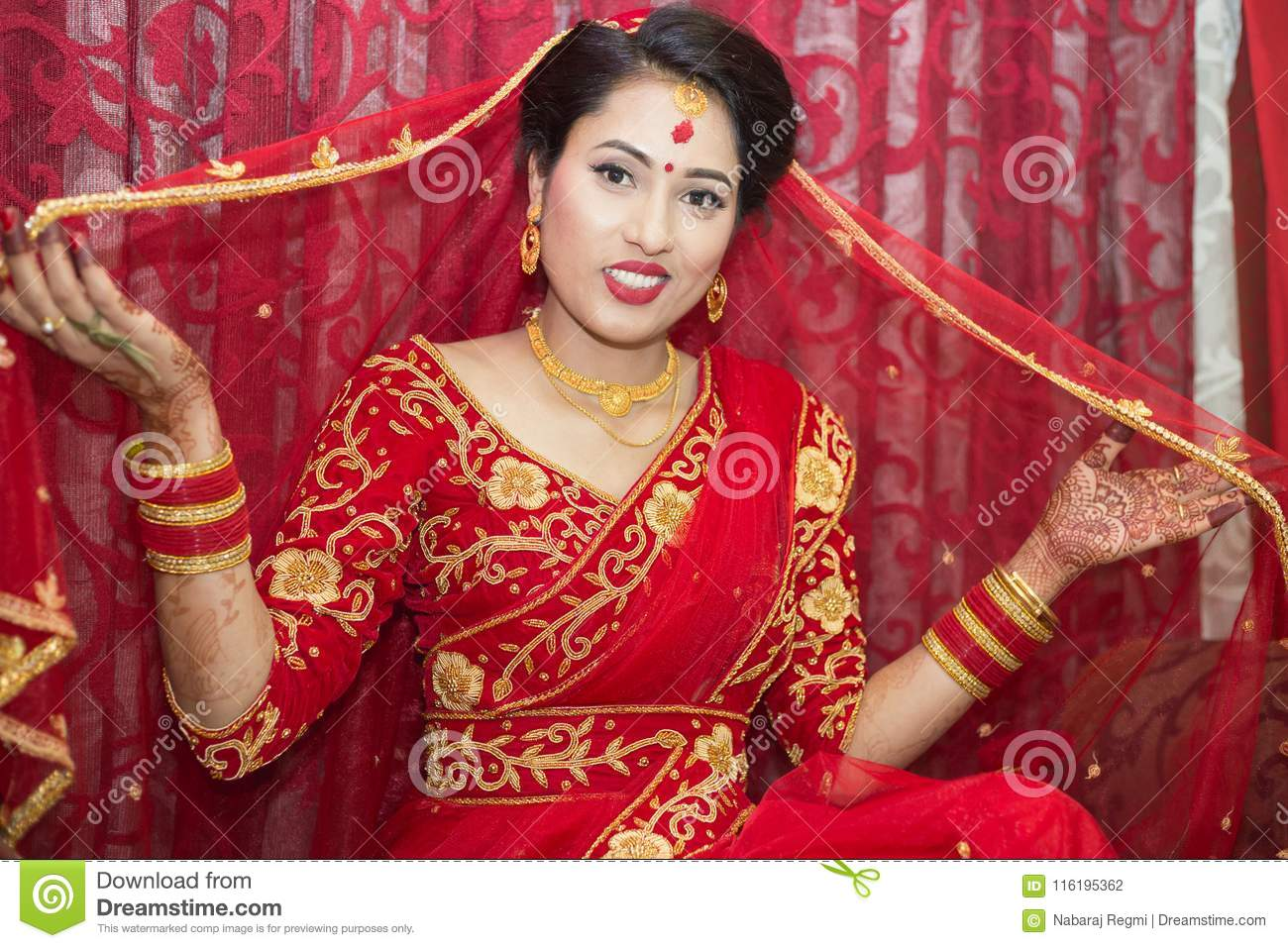 Beautiful Nepali Bride At Wedding Ceremony Editorial