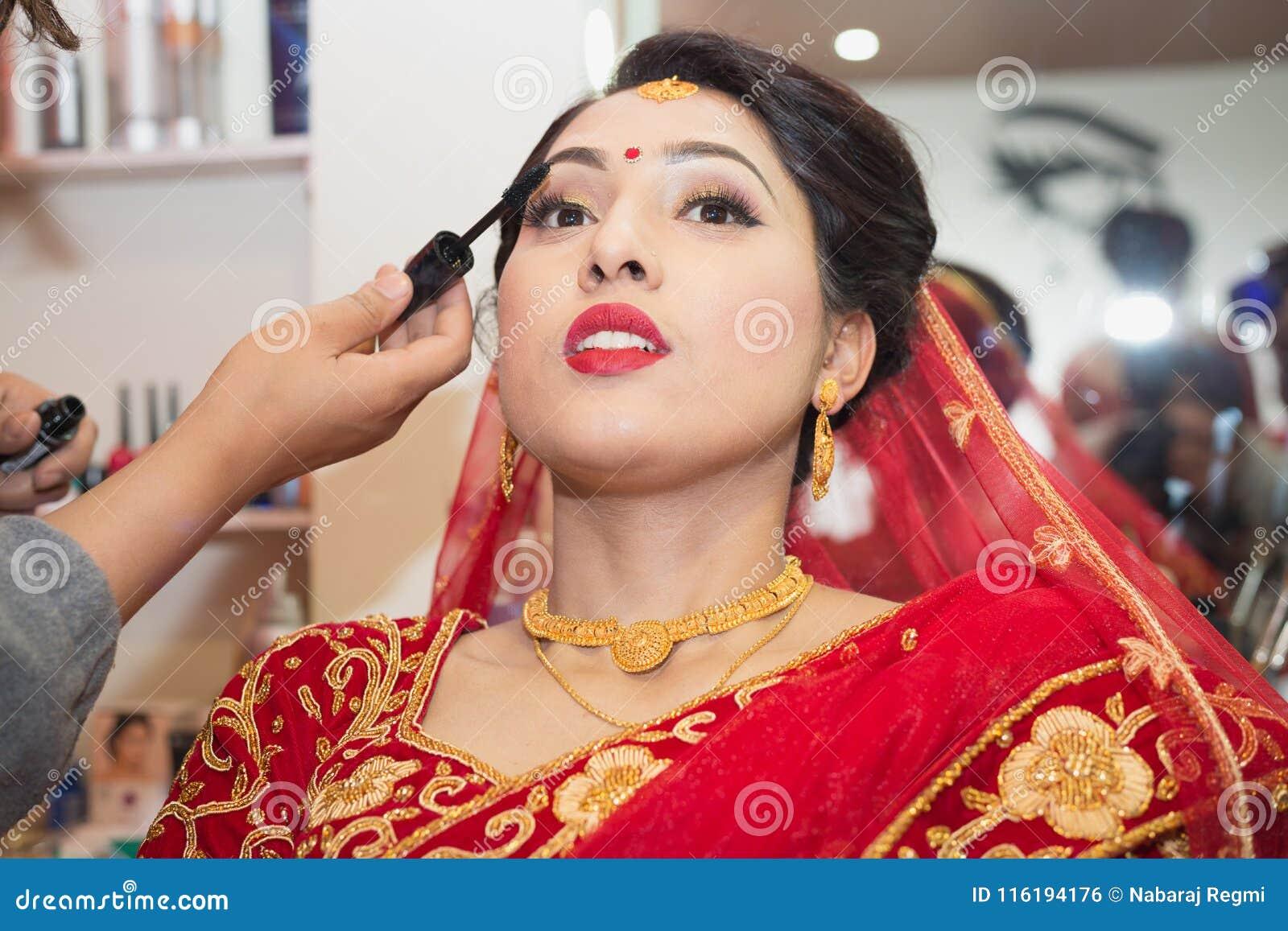 Beautiful Nepali Bride At The Beauty Parlour Editorial Photo