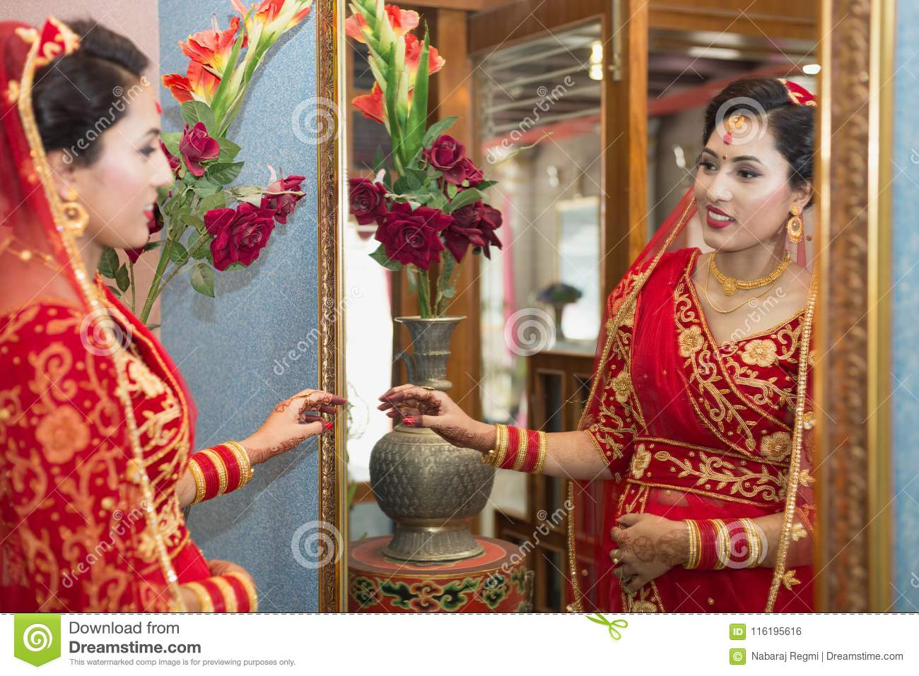 Beautiful Nepali Bride At Wedding Ceremony Editorial Photo